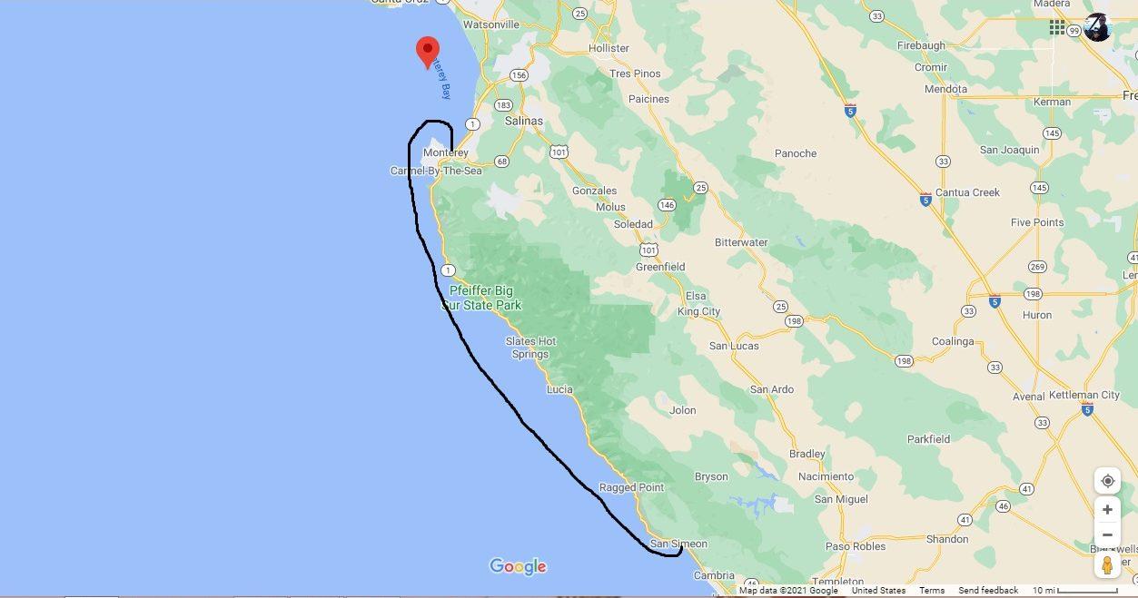 San Simeon to Monterey